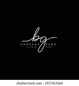 Initial letter BG calligraphy handwritten logo. Handwritten alphabet in the logo template. Letters and Alphabet for your logo design.
