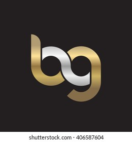 initial letter bg linked circle lowercase logo gold silver black background