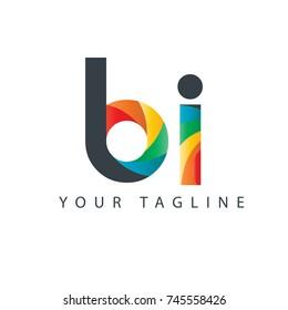 Initial Letter BI Curve Rounded Design Logo