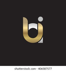 initial letter bi linked circle lowercase logo gold silver black background