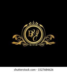 Initial Letter BI logo luxury vector mark, gold color elegant classical symmetric curves decor.