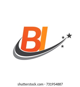 initial letter BI logotype company name colored orange and grey swoosh star design. vector logo for business and company identity.