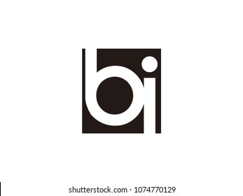 Initial letter bi lowercase logo black and white