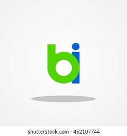 Initial letter BI lowercase logo design template green blue