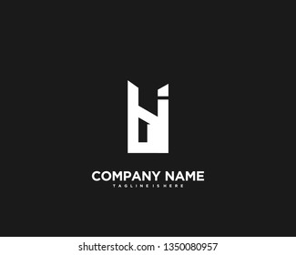 Initial letter BI minimalist art logo vector