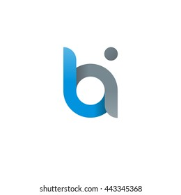 initial letter bi modern linked circle round lowercase logo blue gray