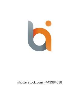 initial letter bi modern linked circle round lowercase logo orange gray