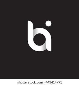 initial letter bi modern linked circle round lowercase logo white black