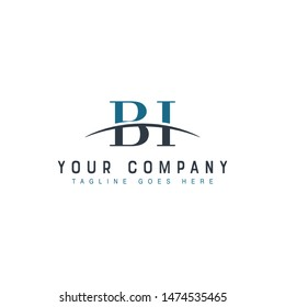 Initial letter BI, overlapping movement swoosh horizon logo company design inspiration in blue and gray color vector