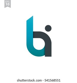 Initial Letter BI Rounded Lowercase Logo People Blue Black