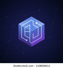 Initial letter BJ, block chain, looping mono line circuit letter on hexagon cube logo, blue magenta gradient color on black blue network background