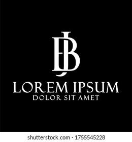 Initial letter BJ or JB logo template with vintage saacred font illustration in flat design monogram symbol