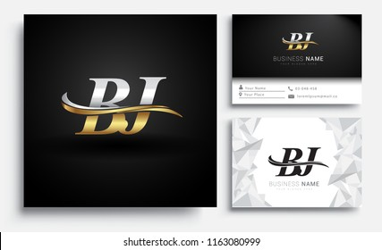 initial letter BJ logotype company name colored gold and silver swoosh design. Vector sets for business identity on white background.