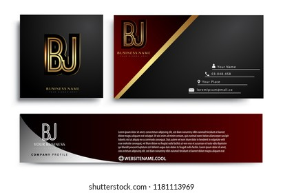 initial letter BJ logotype company name colored gold elegant design. Vector sets for business identity on black background.