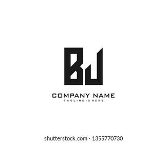 Initial letter BJ minimalist art logo vector