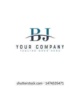 Initial letter BJ, overlapping movement swoosh horizon logo company design inspiration in blue and gray color vector