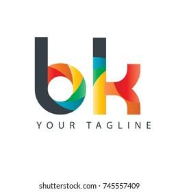 Initial Letter BK Curve Rounded Design Logo