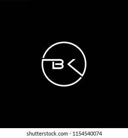 Initial letter BK KB minimalist art monogram circle shape logo, white color on black background