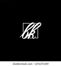 Initial letter BK KB P minimalist art monogram shape logo, white color on black background
