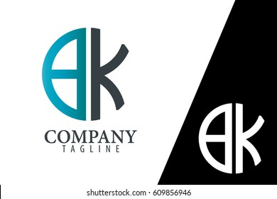 Initial Letter BK With Linked Circle Logo