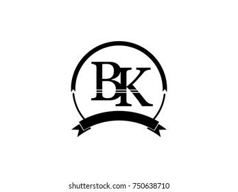 initial letter BK logo monogram retro black