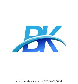initial letter BK logotype company name colored blue and swoosh design. vector logo for business and company identity.