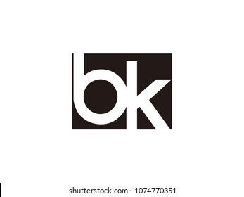 Initial letter bk lowercase logo black and white