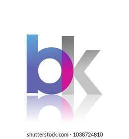 Initial Letter BK Lowercase overlap Logo Blue, pink and grey, Modern and Simple Logo Design.