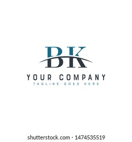 Initial letter BK, overlapping movement swoosh horizon logo company design inspiration in blue and gray color vector