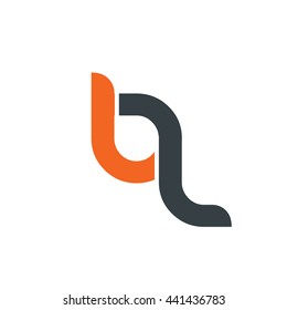Initial Letter BL BQ Logo Circle Rounded Lowercase Logo Orange Black