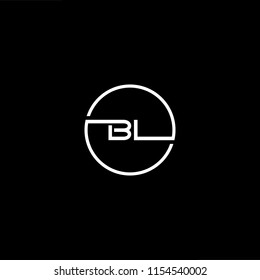 Initial letter BL LB minimalist art monogram circle shape logo, white color on black background
