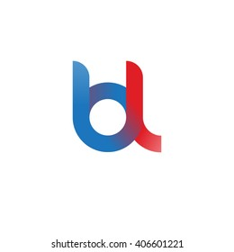initial letter bl linked circle lowercase logo blue red