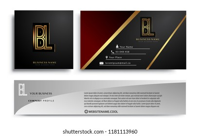 initial letter BL logotype company name colored gold elegant design. Vector sets for business identity on black background.