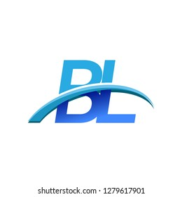 initial letter BL logotype company name colored blue and swoosh design. vector logo for business and company identity.