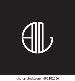 Initial letter BL, minimalist line art monogram circle shape logo, white color on black background