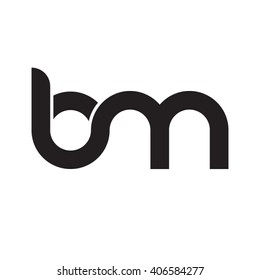 initial letter bm linked circle lowercase monogram logo black