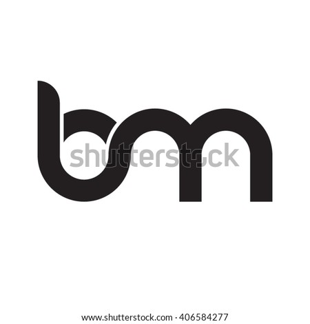 initial letter bm linked circle lowercase stock vector royalty free