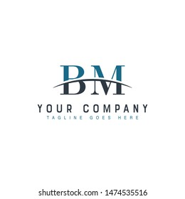 Initial letter BM, overlapping movement swoosh horizon logo company design inspiration in blue and gray color vector