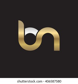 initial letter bn linked circle lowercase logo gold silver black background