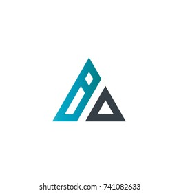 Initial Letter BO BD Linked Triangle Design Logo