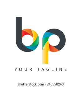 Initial Letter BP Curve Rounded Design Logo