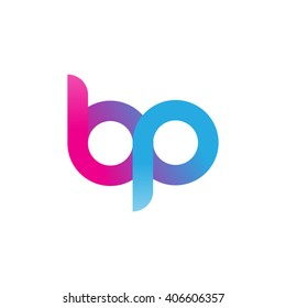 initial letter bp linked circle lowercase logo pink blue purple