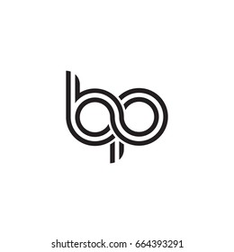 Initial letter bp, linked outline rounded lowercase, monogram black