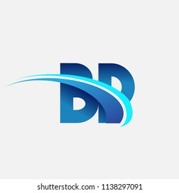 initial letter BP logotype company name colored blue and swoosh design. vector logo for business and company identity.