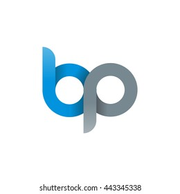 initial letter bp modern linked circle round lowercase logo blue gray