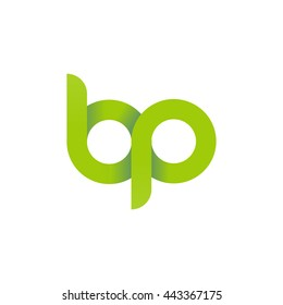 initial letter bp modern linked circle round lowercase logo green
