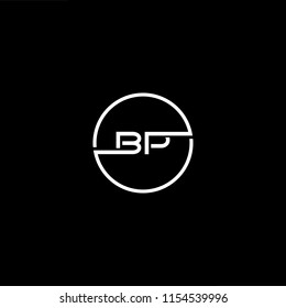 Initial letter BP PB minimalist art monogram circle shape logo, white color on black background