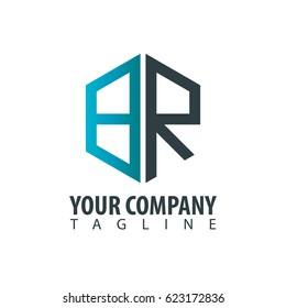 Initial Letter BR Design Box Logo