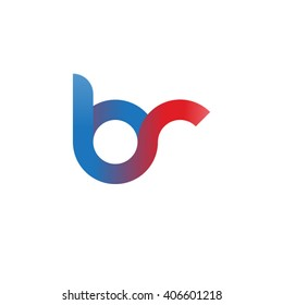 initial letter br linked circle lowercase logo blue red