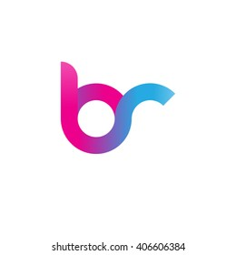 initial letter br linked circle lowercase logo pink blue purple